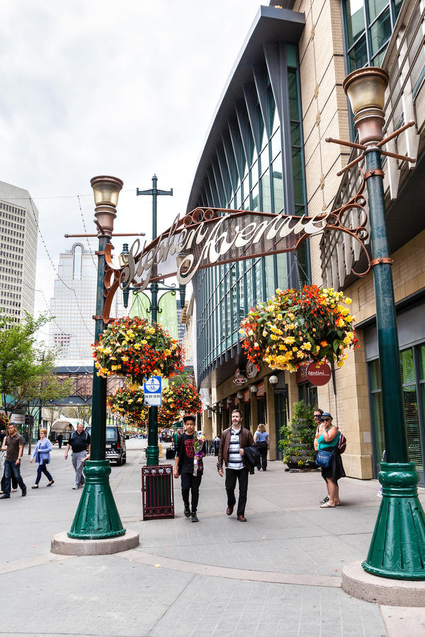 Stephen Avenue in Downtown Calgary, Canada stock photography