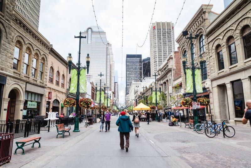 Stephen Avenue histórico em Calgary do centro foto de stock royalty free