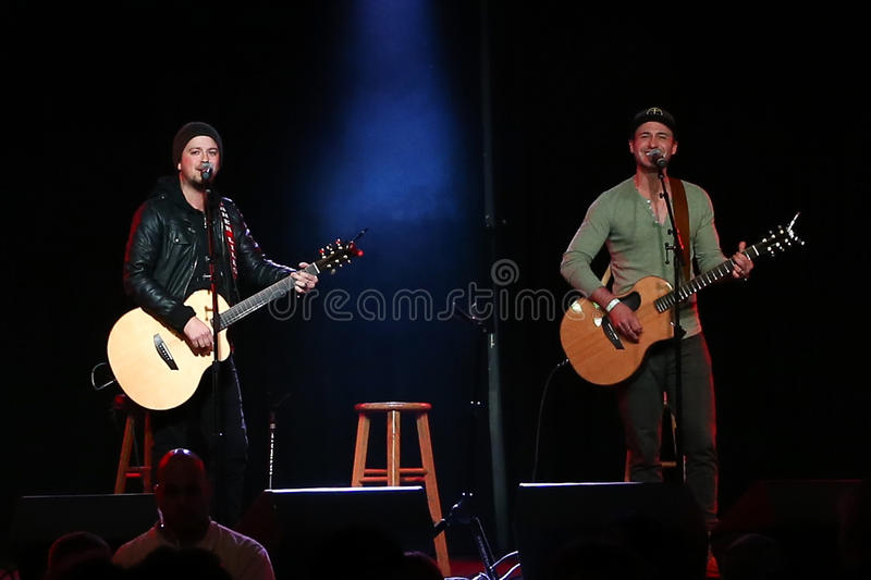 Stephen Barker Liles, Eric Gunderson. PATCHOGUE, NY-FEB 3: Musicians Stephen Barker Liles (L) and Eric Gunderson of Love and Theft perform onstage at The stock photography