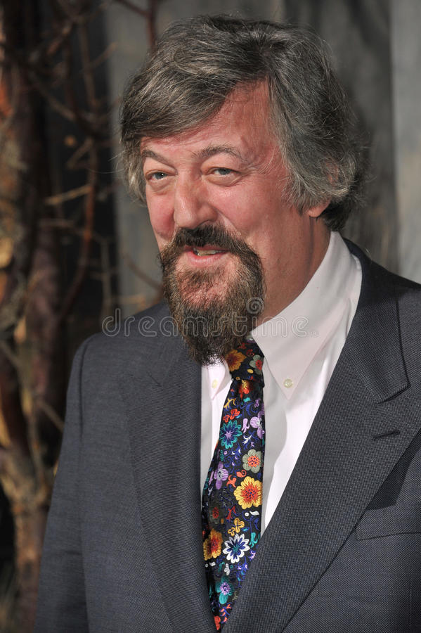 Stephen Fry. LOS ANGELES, CA - DECEMBER 2, 2013: Stephen Fry at the Los Angeles premiere of his movie The Hobbit: The Desolation of Smaug at the Dolby Theatre royalty free stock photo