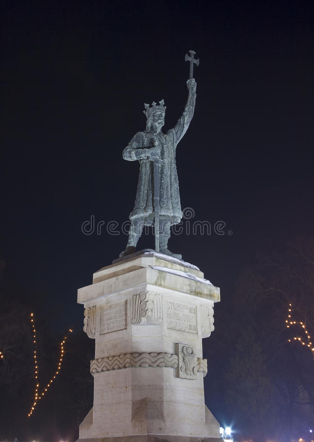 Stephen the Great Monument at night in Chisinau, M royalty free stock image