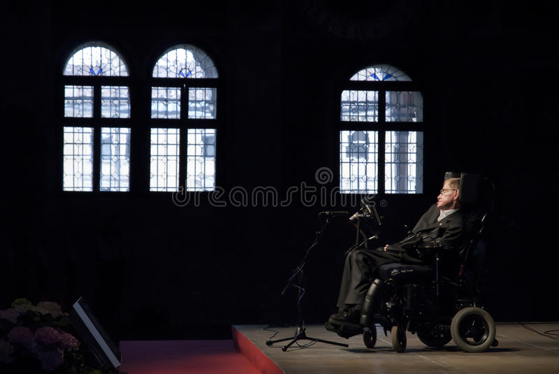 Stephen Hawking. Professor Stephen Hawking conference in Italy stock photos