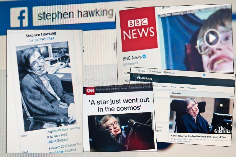 Stephen Hawking dies aged 76 royalty free stock images