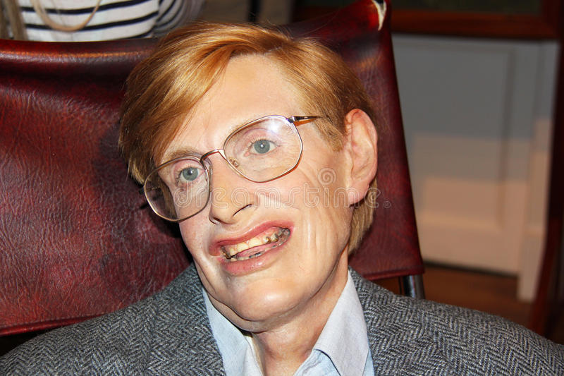Stephen Hawking. London, - United Kingdom, 08, July 2014. Madame Tussauds in London. Waxwork statue of Stephen Hawking. Created by Madam Tussauds in 1884, Madam stock photo