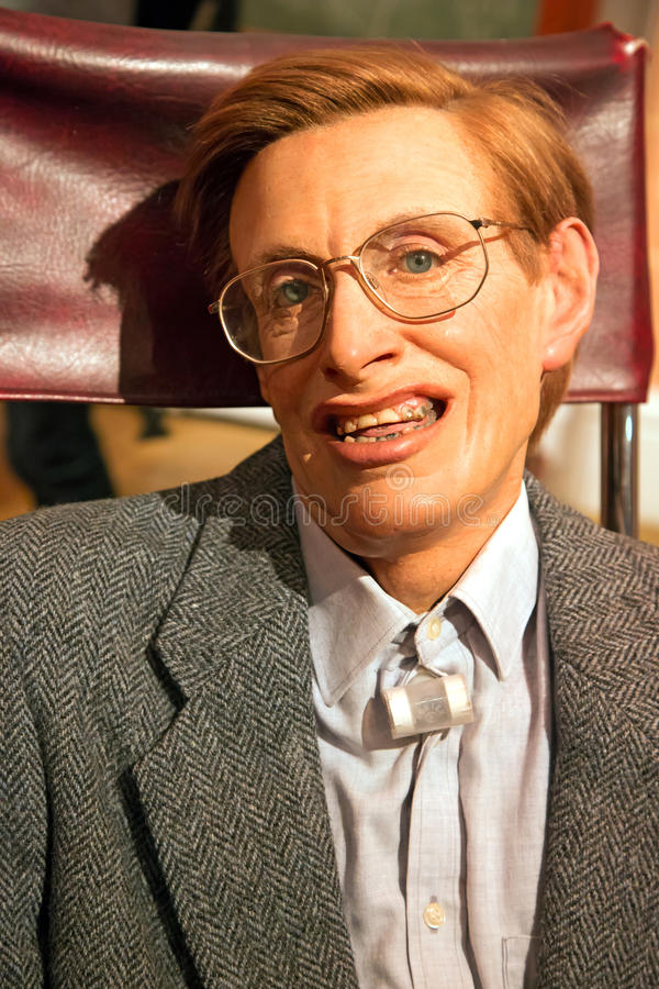 Stephen Hawking in Madame Tussauds of London stock image