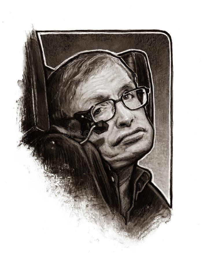 Stephen Hawking portrait illustration image stock photo