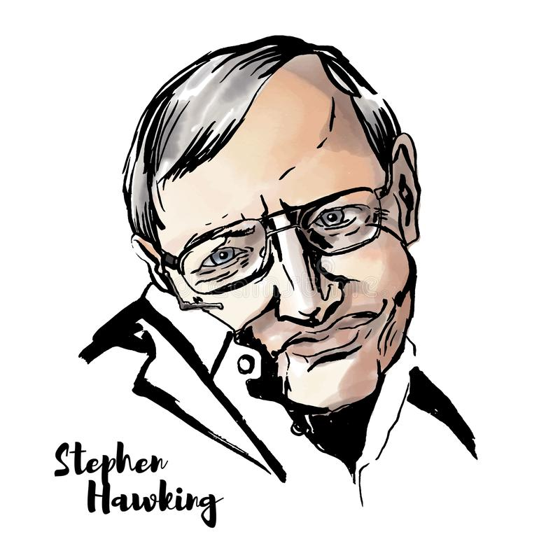 Stephen Hawking Portrait. MOSCOW, RUSSIA - JUNE 11, 2018: Stephen Hawking watercolor vector portrait with ink contours. English theoretical physicist