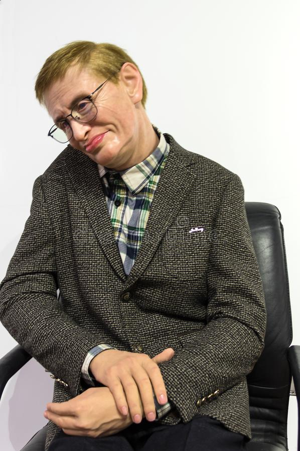 Stephen Hawking statue. Wax statue of Stephen Hawking at the Krakow Wax Museum - Cracow, Poland stock photography