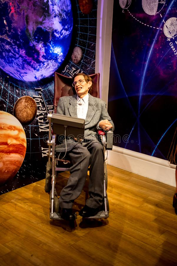 Stephen Hawking-Wachsfigur in Museum Madame Tussaud in London stockbild