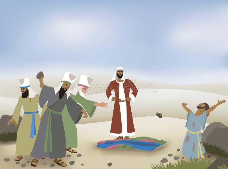 Stephen Stoned en biblisk illustration vektor illustrationer