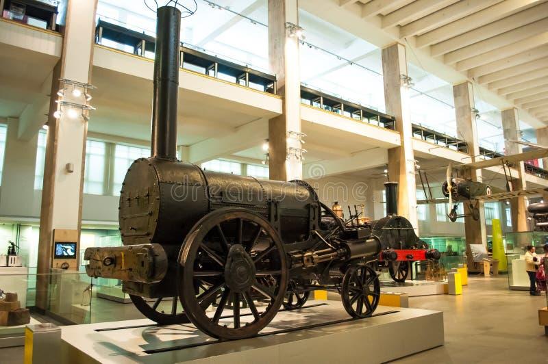 Stephensons火箭队机车 科技馆,伦敦,英国 库存图片