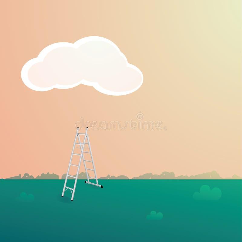 Stepladder κάτω από το σύννεφο απεικόνιση αποθεμάτων