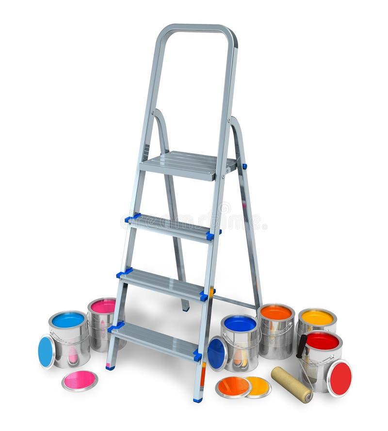 Stepladder avec des bidons de peinture de couleur illustration libre de droits