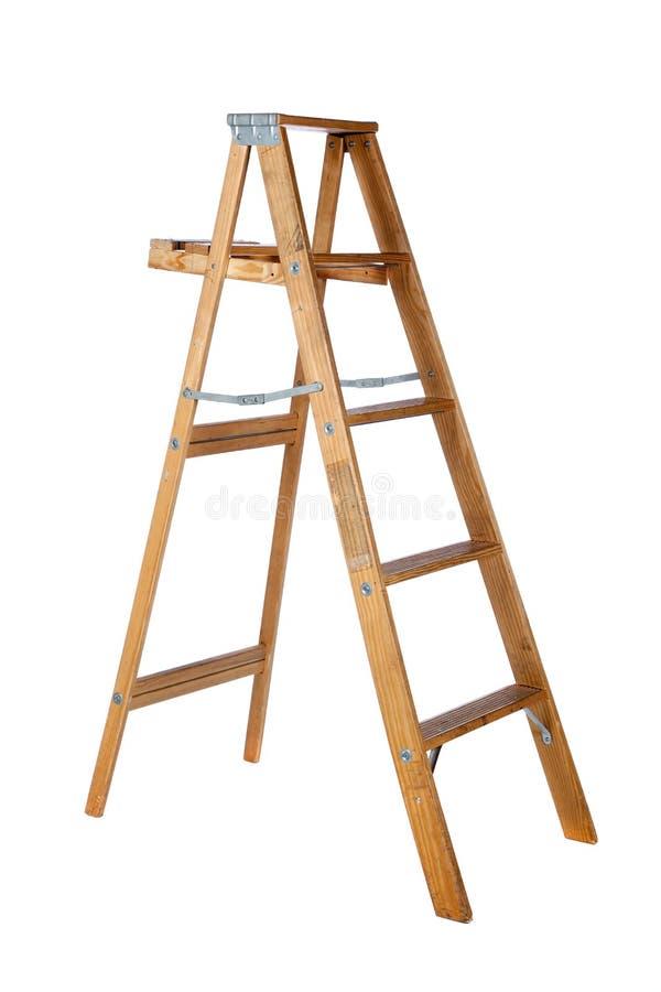 Stepladder de madeira em um fundo branco foto de stock