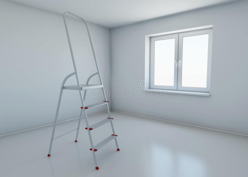 Stepladder standing in the middle of the room with