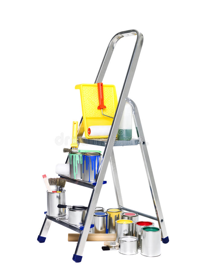 Free Stepladder With Paint Cans And Brushes Royalty Free Stock Photo - 18020185