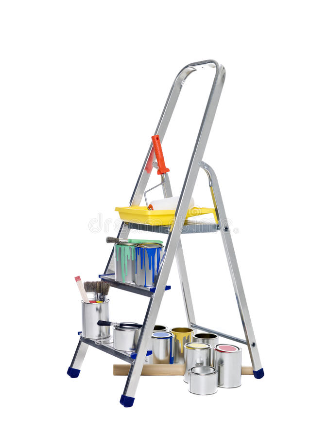 Free Stepladder With Paint Cans And Brushes Stock Images - 18020294