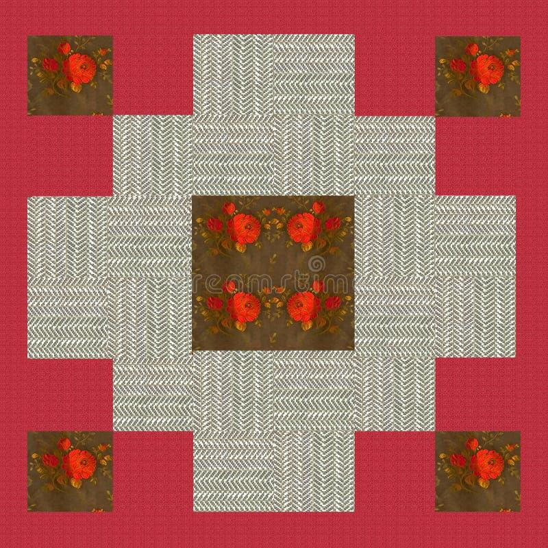 Steppdeckendesign n 6, Collage für eine Steppdecke, Rot und Beige mit Blumen lizenzfreie abbildung