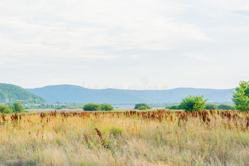 Steppe landscape on the bank of the river Sok Samara region Russia. View of the Zhiguli Mountains royalty free stock photos