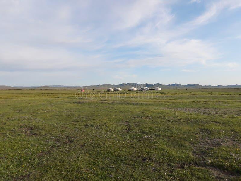 Steppe mongole avec le Gers photos stock