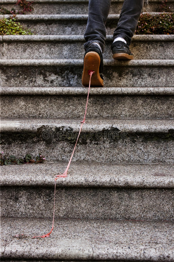 Stepped In It. A shot of a guy's feet walking up steps, with pink bubble gum stuck to the bottom of his shoe and stretched up the steps stock photos