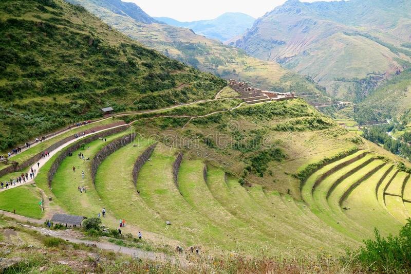 Stepped Agriculture Terrace in Archaeological site of Pisac with a Lot of Visitor, Sacred Valley of Cusco region, Peru royalty free stock image