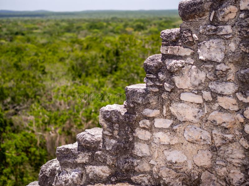 Stepped facade of an ancient Maya temple in Calakmul, Mexico. With jungle background stock photography
