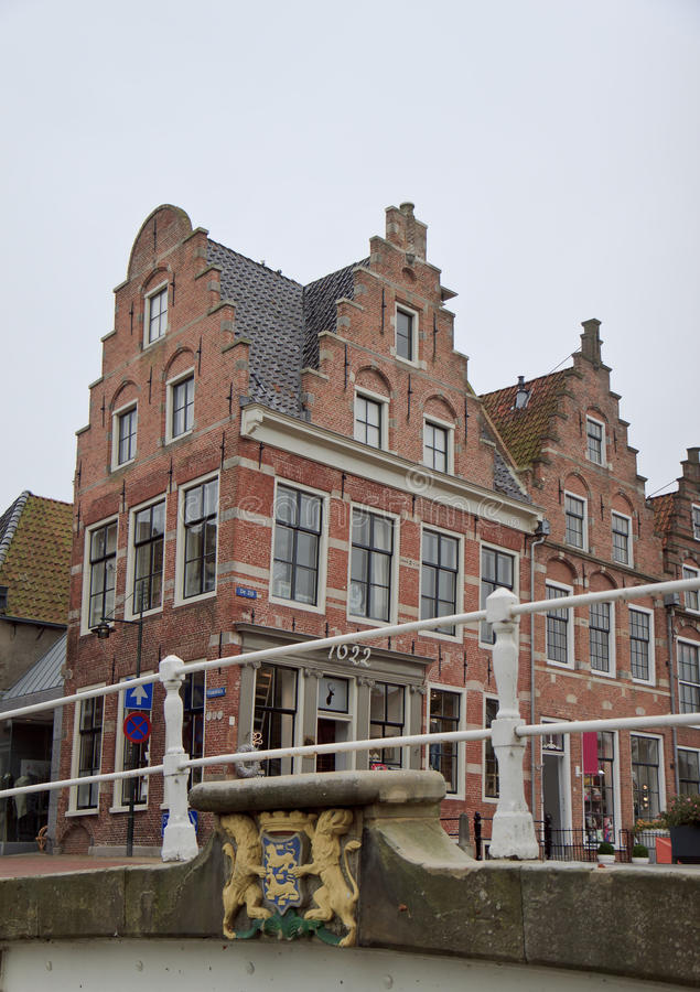 Stepped gables in historical Dokkum, Netherlands. The dutch town of Dokkum is a very old town, it is the oldest of the eleven towns of Friesland. In the 19th stock image