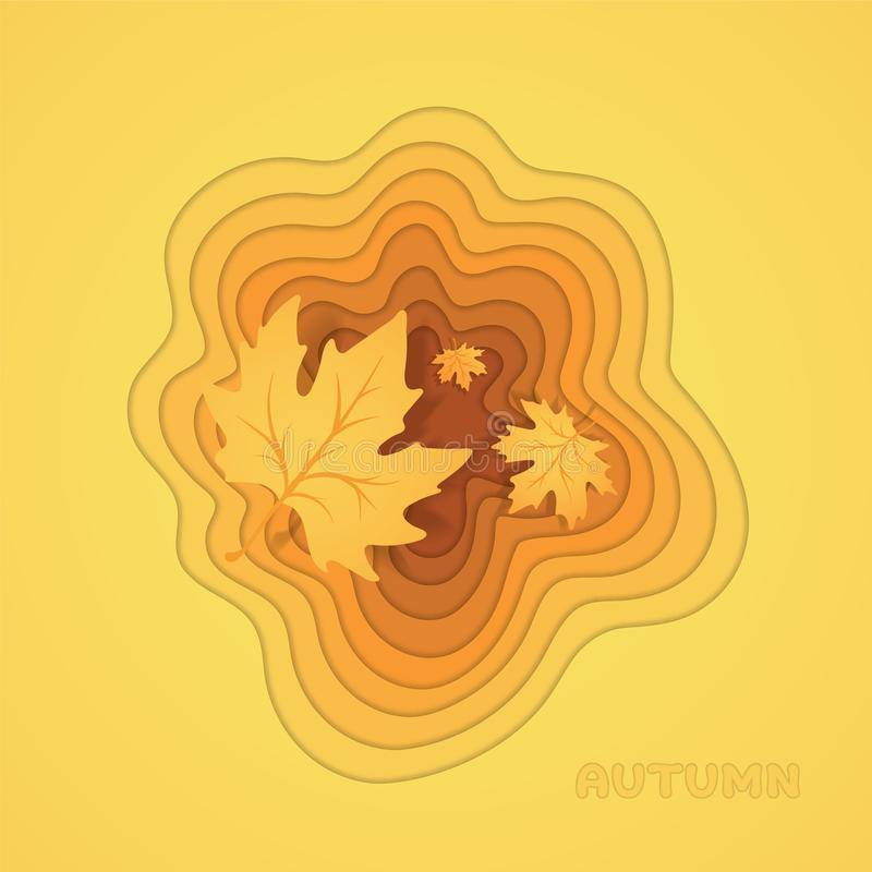 Stepped hole in the form of a maple leaf. Falling autumn leaves. Orange autumn background. royalty free illustration