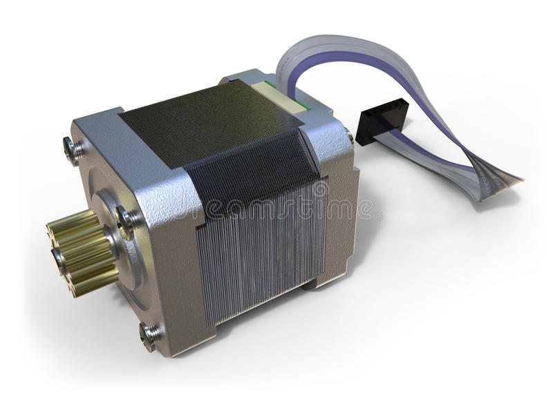 Stepper electric motor. Isolated on white stock image