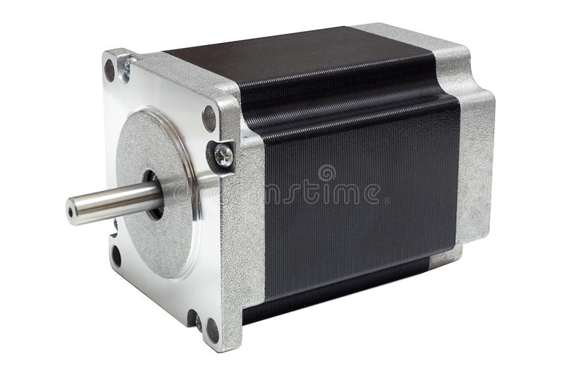 Stepper motor of CNC linear axis drive on white background. CNC drive stepping / stepper motor with NEMA standard flange, used for driving axes of CNC machines royalty free stock photography