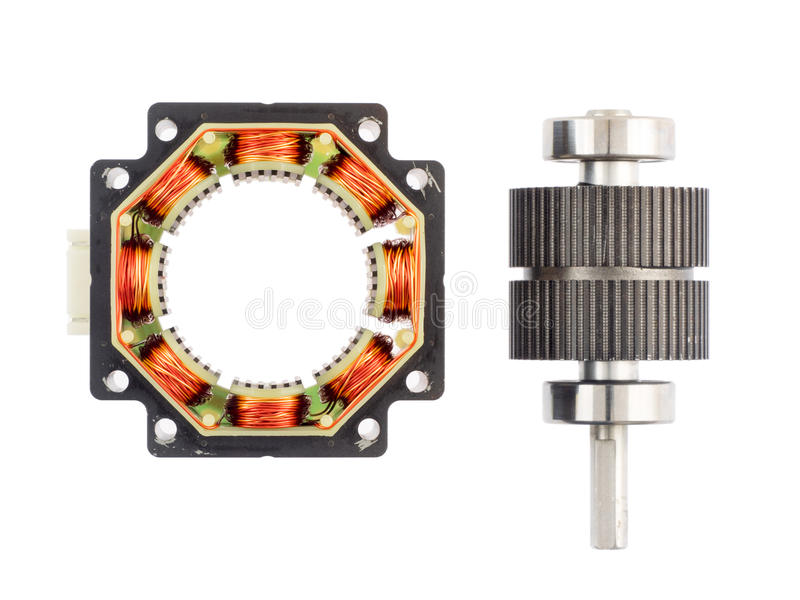 Stepper motor. A disassembled stepper motor, with the rotor removed royalty free stock image