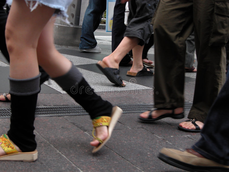 Download Stepping stock photo. Image of sandals, step, street, people - 17682
