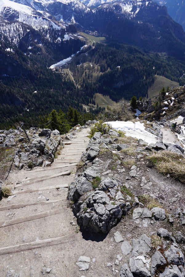 Stepping stair with View from the cliff of the Mount Jenner royalty free stock photo