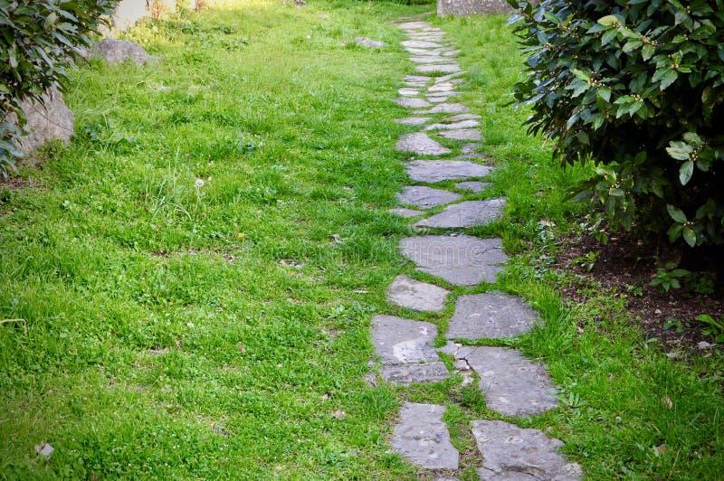 Stepping stone path in old castle garden, Rijeka Croatia. Stepping stone path in old castle garden, Rijeka stock photo