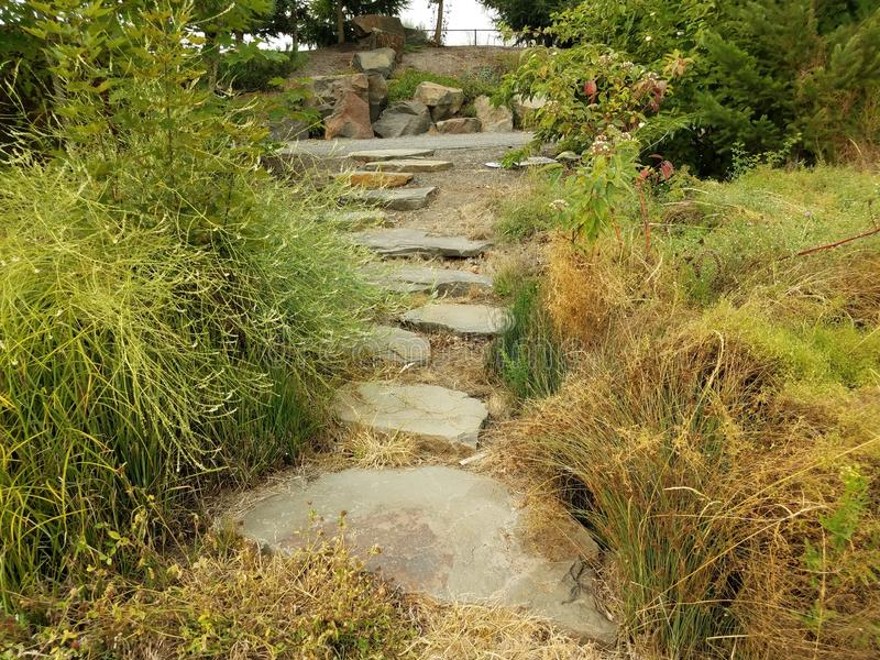 Stepping stones, gravel path, and green grasses. Stepping stone trail, gravel path, and green grasses stock photos