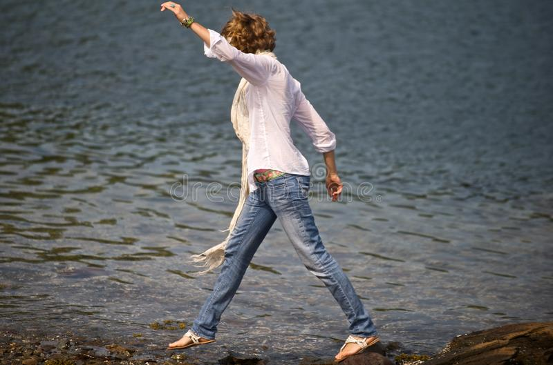 Download Stepping on Stones stock image. Image of toeing, sandals - 18290579