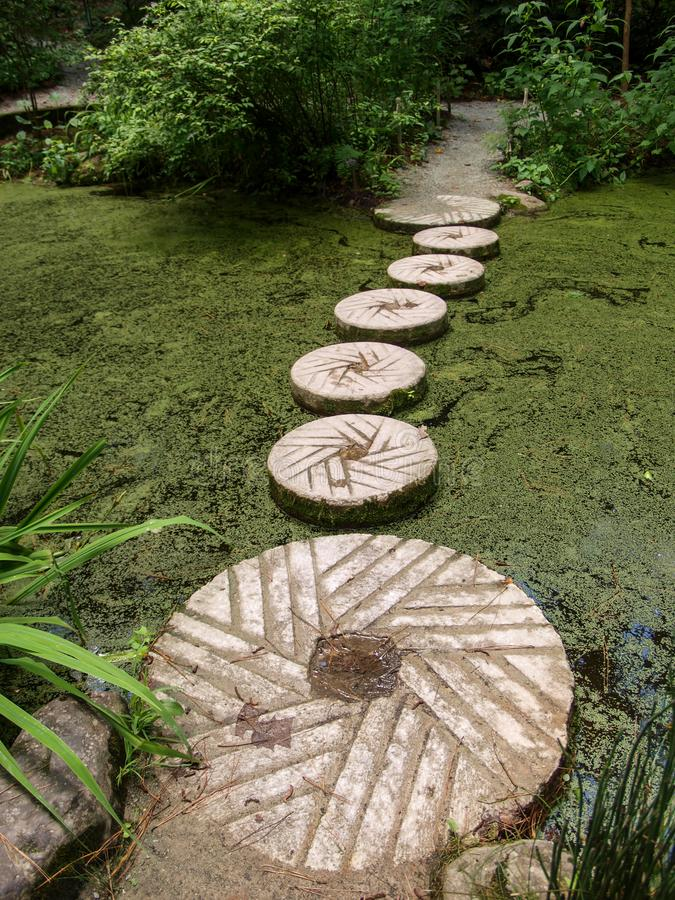 Stepping Stones across Pollen Covered Pond at Sarah P. Duke Gardens in Durham, North Carolina. The Sarah P. Duke Gardens is 55 acres of landscaped and wooded royalty free stock images