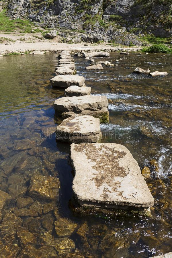 The stepping stones, Dovedale, Derbyshire, UK royalty free stock photography