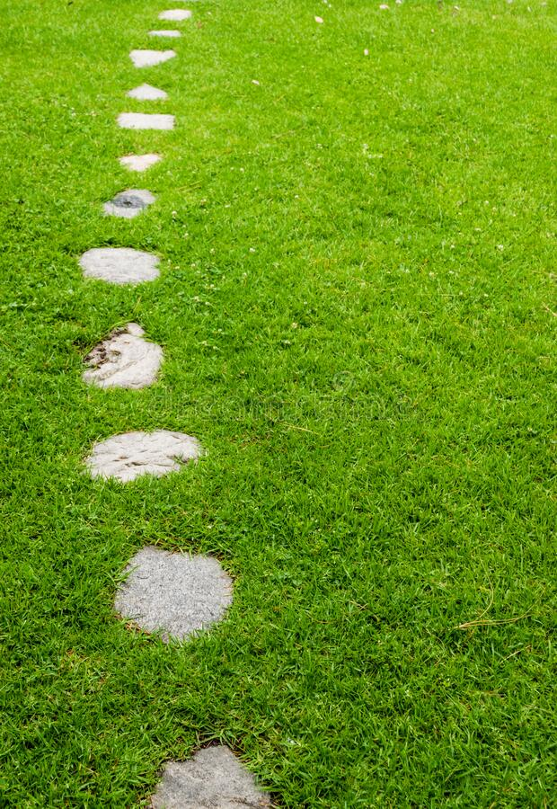 Stepping stones on grassy background. Tranquil Grassy background with stone foot path with copy space royalty free stock image