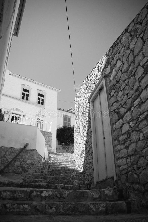 Steps at Hydra island, Greece royalty free stock photography