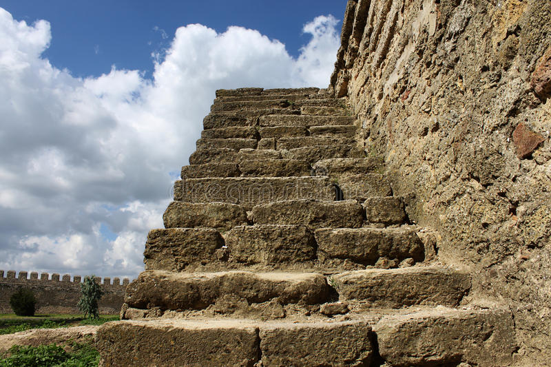 Download Steps stock photo. Image of wall, edifice, clouds, merlons - 15300494