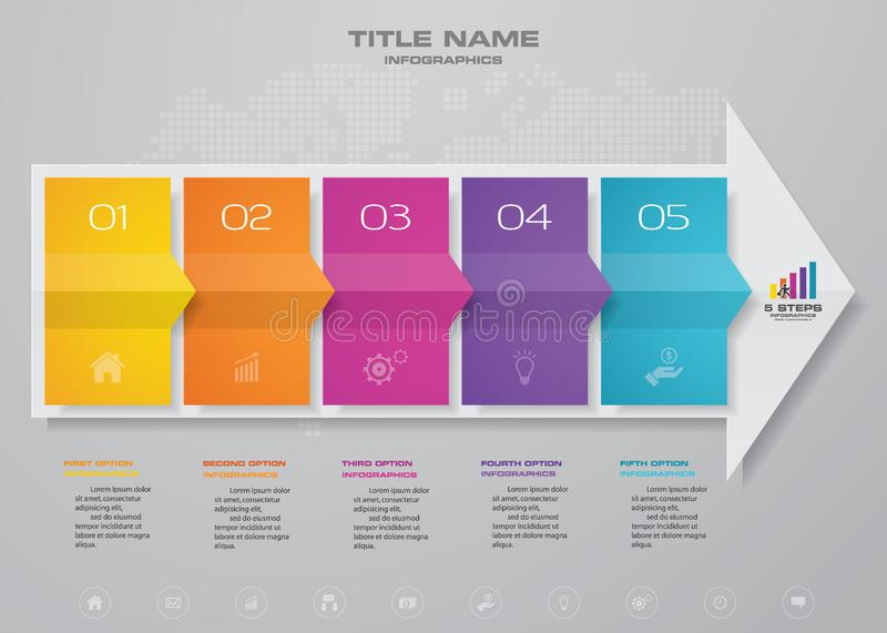 5 steps arrow timeline infographic element. stock illustration