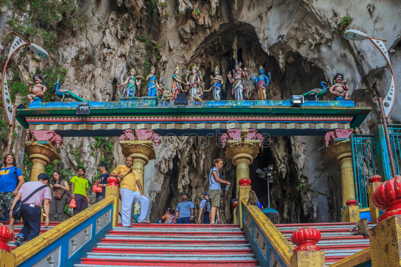 Steps at Batu Caves. Kuala Lumpur, Malaysia - August 16, 2013: Top of the stairs leading up to the Batu Caves temple and the temple entrance stock images