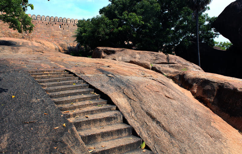 Steps carved in the rock of tirumayam fort royalty free stock photography