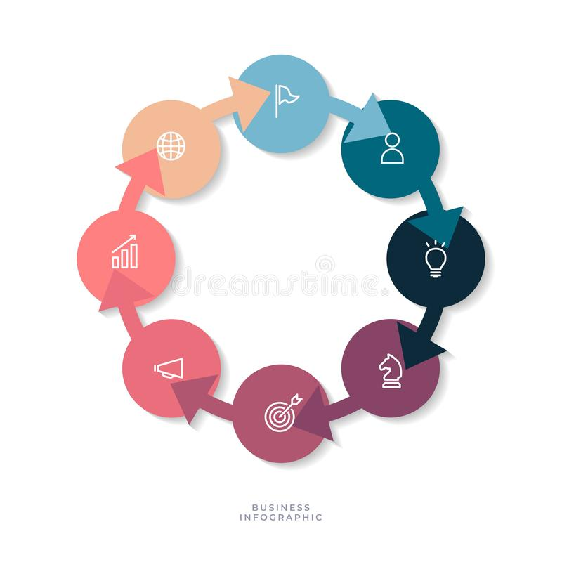8 steps circle chart with business icon, Circle infographic or Circular diagram. Vector vector illustration