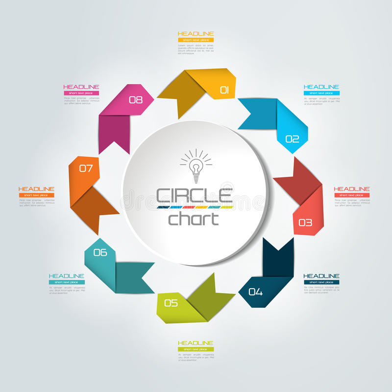 8 steps connected circle, round infographic. Vector illustration stock illustration