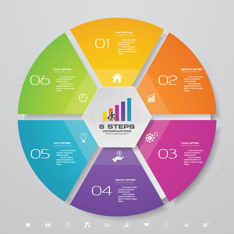 6 steps cycle chart infographics elements. vector illustration
