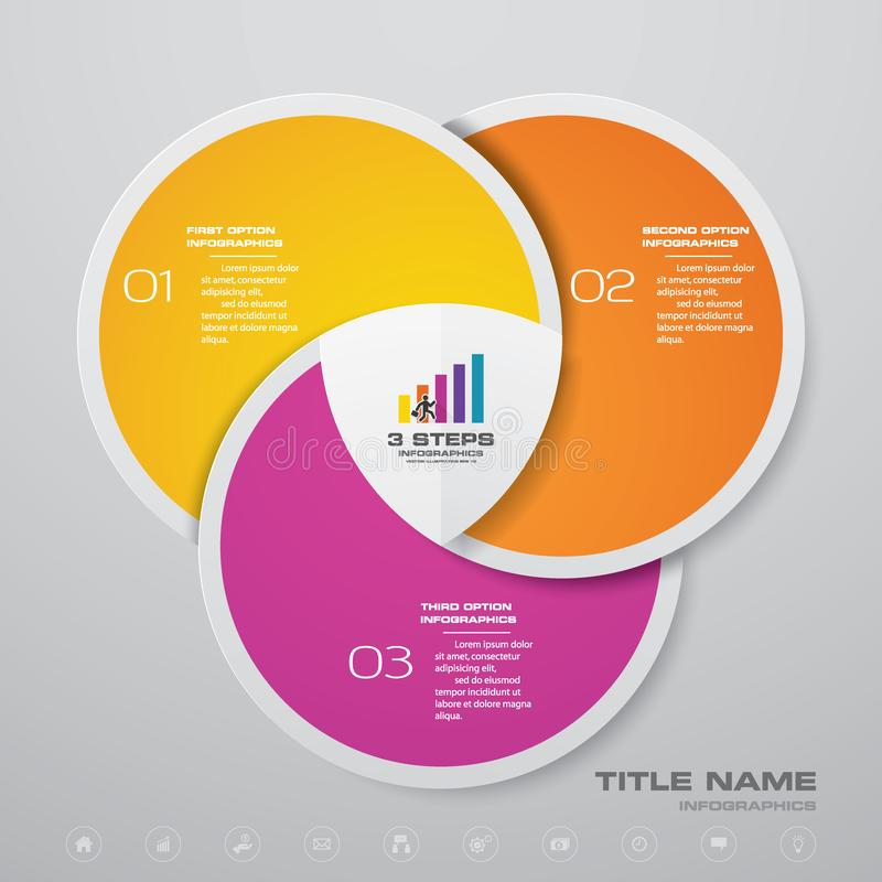 3 steps cycle chart infographics elements. vector illustration
