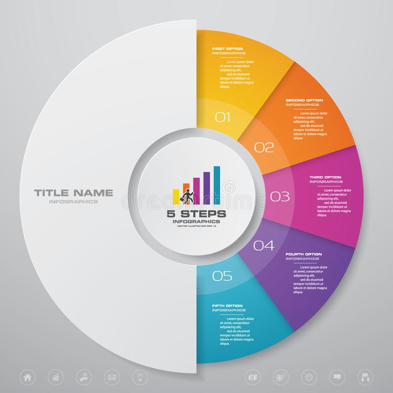 5 steps cycle chart infographics elements. EPS 10. For data presentation royalty free illustration